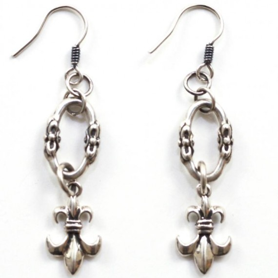 Fleur-De-Lis-Silver-Earrings-Top