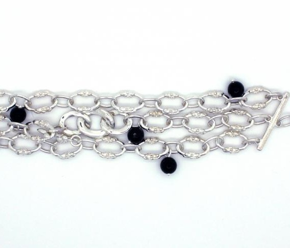 Fleur-De-Lis-Triple-layer-Onyx-Bracelet