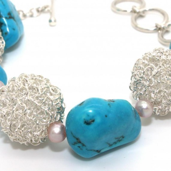Turquoise-Dandelion-w-Shell-Bracelet-Detail