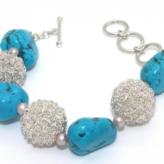 Turquoise-Dandelion-w-Shell-Bracelet-Top