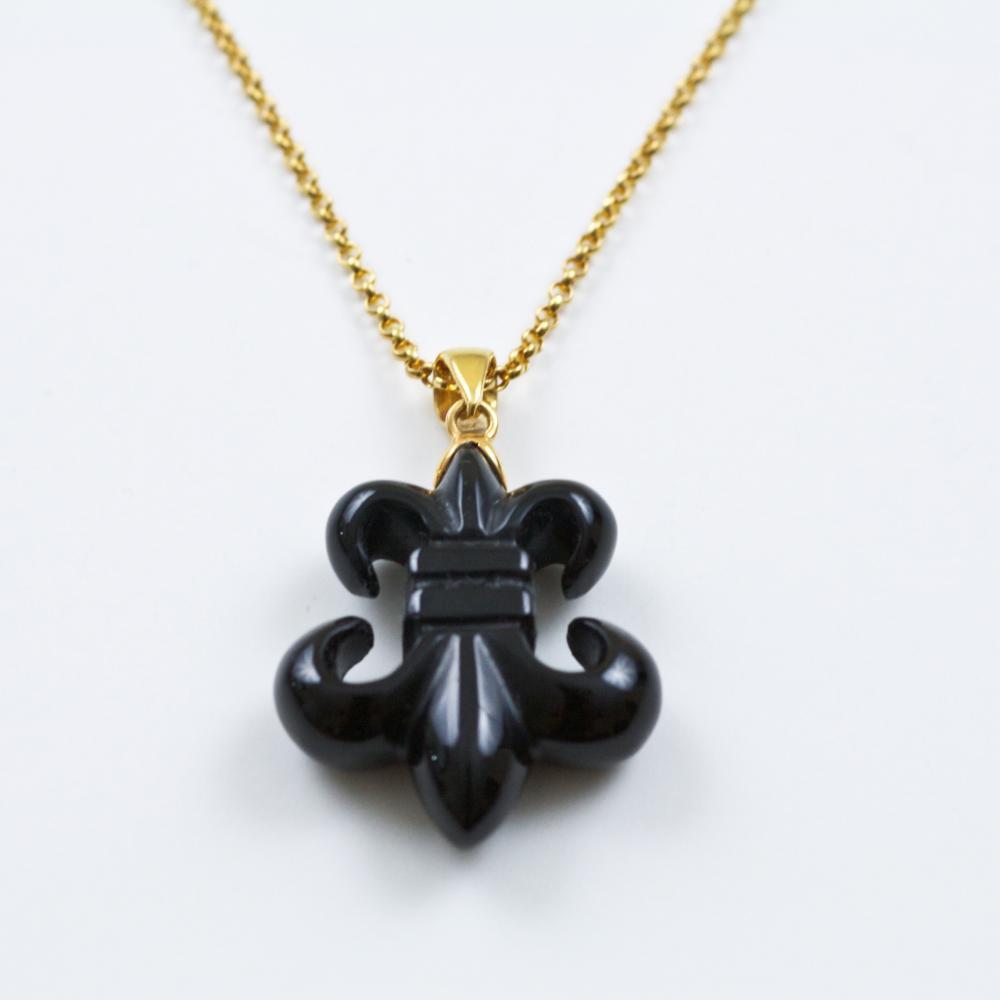 Rosaline jewelry call now for 10 percent off your order 1 888 black onyx fleur de lis pendant gold aloadofball Images