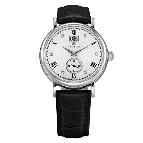 "George ""Executive"" stainless steel transparent case back automatic watch white dial black leather band Men's B157G"