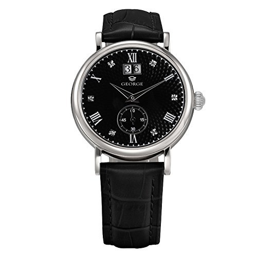 "George ""Executive"" stainless steel transparent caseback automatic watch with black dial and leather band Men's B157G"