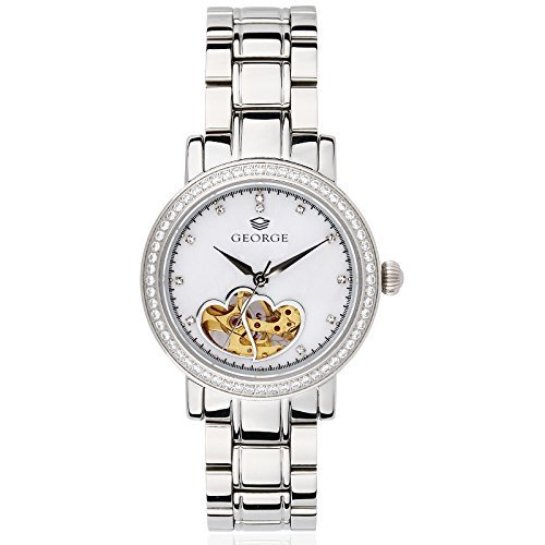 "George ""Love"" double hearts transparant movement stainless steel Analog Quartz watch Women's B132L"